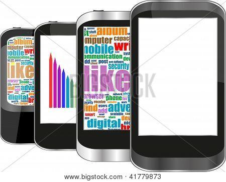 Conjunto de Smartphones Touchscreen isolado no fundo branco