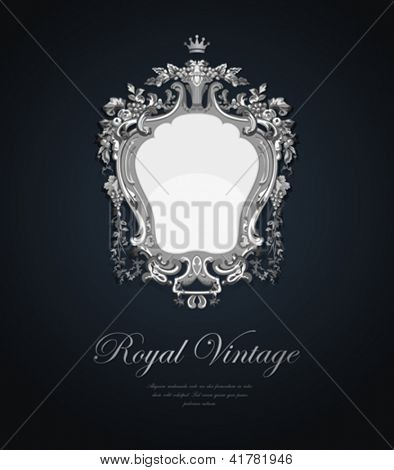 Vintage Greeting card. Silver Vector Template Ultra Luxury elegant style. Retro design. Jewellery concept.