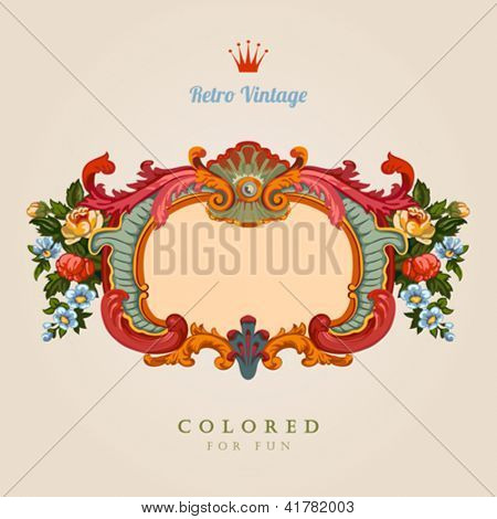 Retro Greeting card. Colorful Vector Template Floral Vintage frame. Ultra high detail.