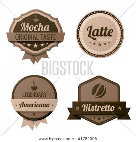 Coffee Vintage Labels template collection.  Cafe Retro style. Mocha, Latte, Americano, Ristretto. Vector icons.