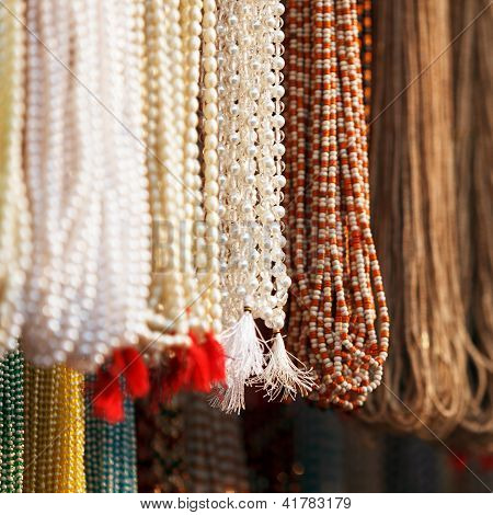 Indian Beads In Local Market In Pushkar.