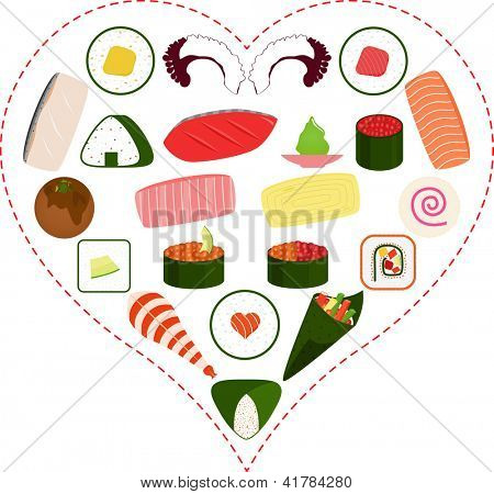A Vector illustration of Sushi, Sashimi, Maki icons inside a Heart