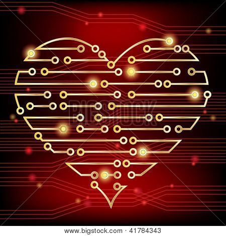 Circuit board heart concept, demonstrating a healthy heart firing electrical impulses and also a heart in love. Also available in vector format.