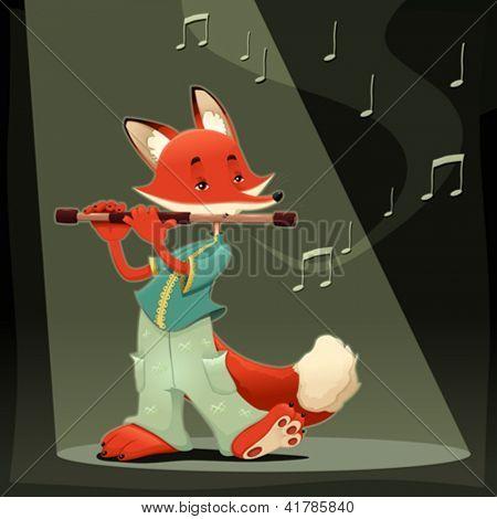 Musician Fox. Funny cartoon and vector illustration