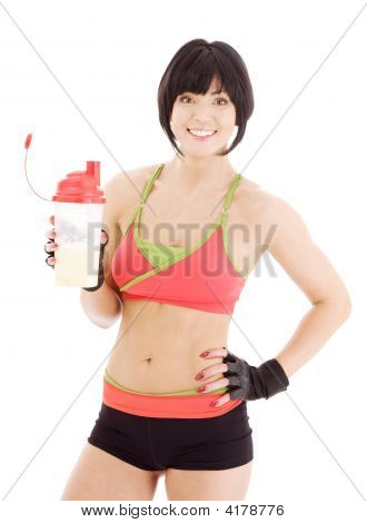 Fitness Instructor With Protein Shake