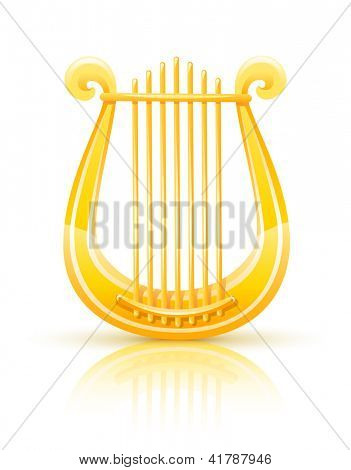 greek golden lyre. Rasterized illustration. Vector version also available in my gallery.