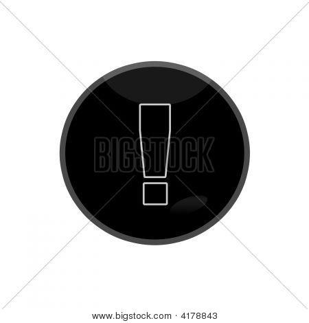 Black Glossy Web Button Exclamatory