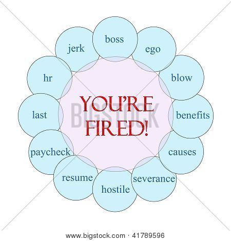 You're Fired Circular Word Concept