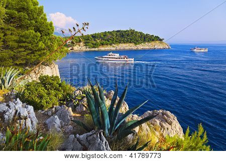 Coast And Ship At Makarska, Croatia