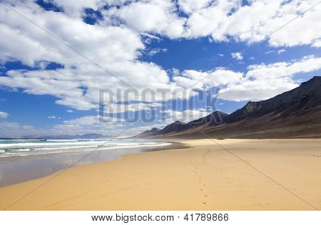 The solitary beach of Cofete, western cast of Fuerteventura