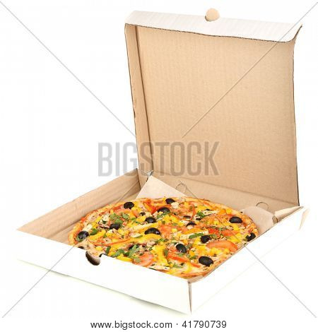 Tasty pizza in paper box isolated on white
