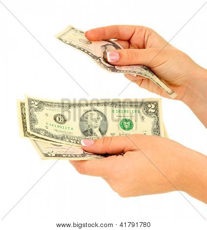 Woman recounts dollars, close up, isolated on white