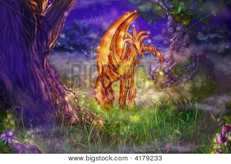 Fairy Tale Kind Creature On A Forest Glade
