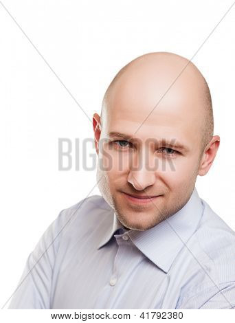 Menschliche Alopezie oder Haar-Verlust - lächelnd erwachsenen Mann Glatze