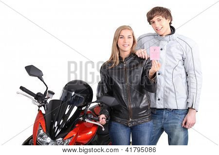 Biker showing driving licence