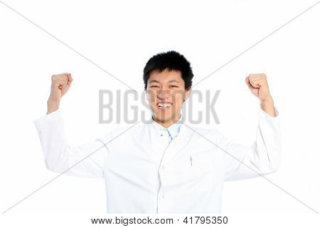 Asian Man Celebrating