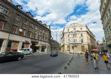 SARAJEVO, BOSNIA - AUGUST 11: Pedestrians in the street of Marshal Tito and Ferhadija on August 11, 2012 in Sarajevo, Bosnia. Numerous streets and squares were also named after Tito.