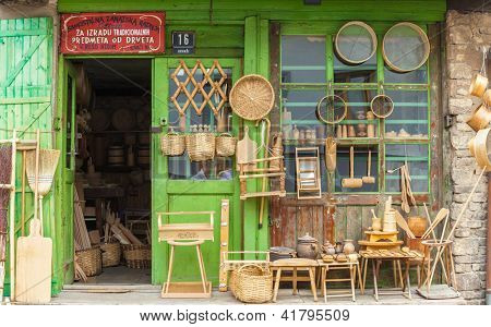 SARAJEVO, BOSNIA - AUGUST 13: Storefront selling traditional handicraft on August 13, 2012 in Sarajevo, Bosnia. Bascarsija, the old town, is a popular place for tourists to buy local craft.