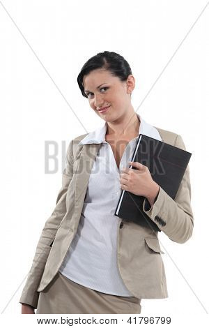woman holding a block note