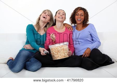 Friends watching a movie together