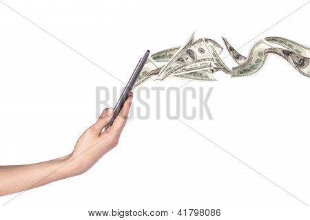Computer Making Money Concept Isolated