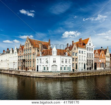 Benelux Travel  concept background - Bruges canal and medieval houses. Brugge, Belgium