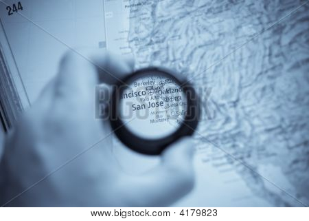 Map Of Selective Focus On Antique Map Of San Jose