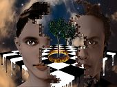 stock photo of peyote  - Surreal puzzle heads tree burning melting chessboard - JPG