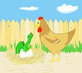 pic of dinosaur-eggs  - Chicken and dragon hatching from egg a vector illustration - JPG