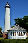 stock photo of gazebo  - Lighthouse and gazebo at Saint Simons Island - JPG