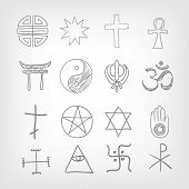 Religious symbolism. Grey Gradient Background. Vector Illustration. EPS 10.