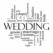 Wedding Word Cloud Concept In Black And White