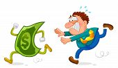 image of caricatures  - buisness man running after a sneaky dollar - JPG