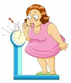 stock photo of fat-guts  - Overweight fat woman on the weight scale - JPG