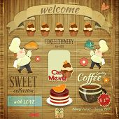 stock photo of dessert plate  - Cafe Confectionery Menu Card in Retro style  - JPG