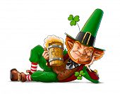 stock photo of saint patrick  - elf leprechaun with beer for saint patrick - JPG