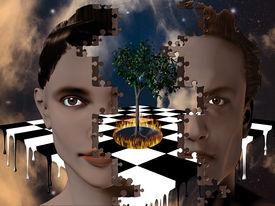 stock photo of peyote  - Surreal puzzle heads tree burning melting chessboard - JPG