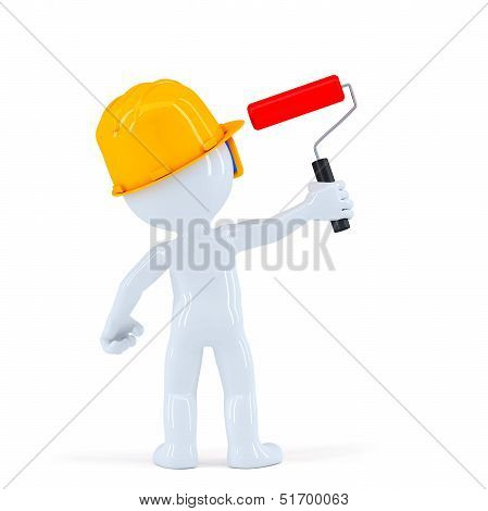 Worker With Paint Roll Painting Invisible Wall