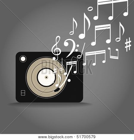 Retro film cassete player with the notes