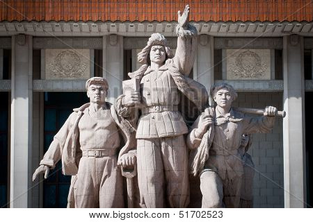 Monument In Front Of Mausoleum Of Mao Zedong
