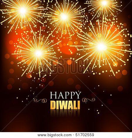 beautiful happy diwali fireworks background