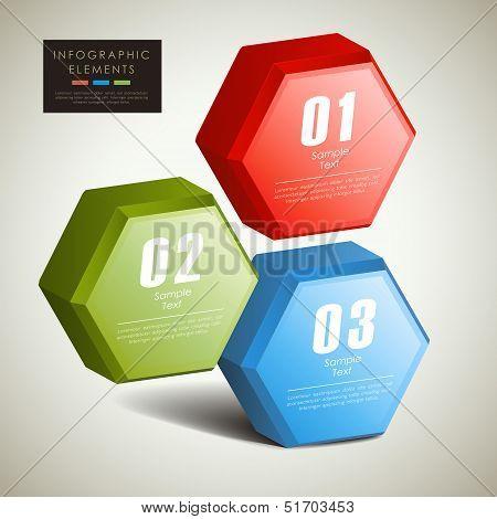 Abstract 3D Hexagonal Columns Infographics