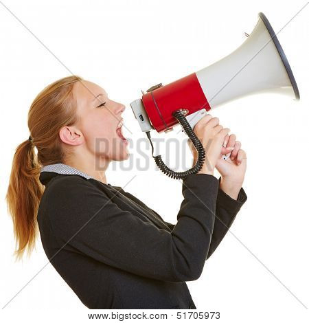 Angry frustrated business woman screaming in a megaphone