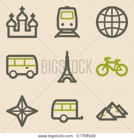 Travel web icons set 2, vintage series
