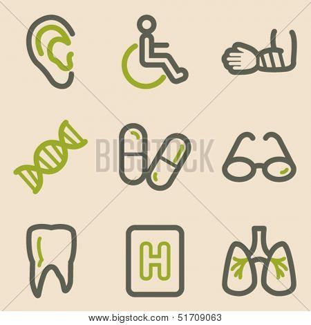 Medicine web icons set 2, vintage series