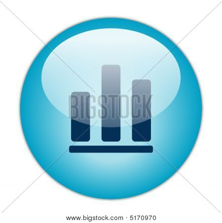 Glassy Blue Bar Graph Icon