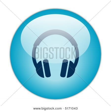 Glassy BLue Headphone Icon