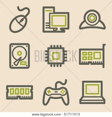 Computer web icons, vintage series
