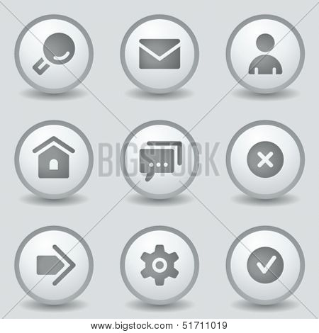 Basic web icons, grey circle buttons