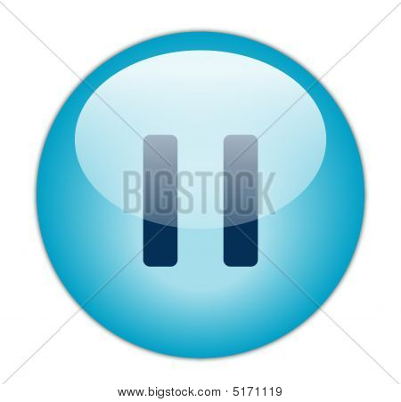 Glassy Blue Pause Icon